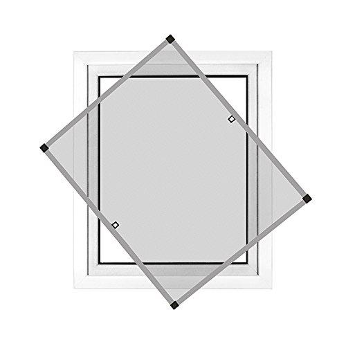 JAROLIFT Profi Line Mosquitera con marco de aluminio para ventana 120cm x 150cm plateada - Montaje sin perforación