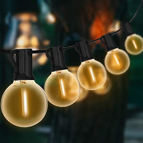 Lichterkette Außen, Lichterkette Glühbirnen Aussen G40 Beleuchtung 7.8M 25 Birnen mit 2 Ersatzbirnen Wasserdicht Lichterkette Glühbirnen Aussen für Garten,Terrasse, Bäume, Hof, Party Deko - Warmweiß