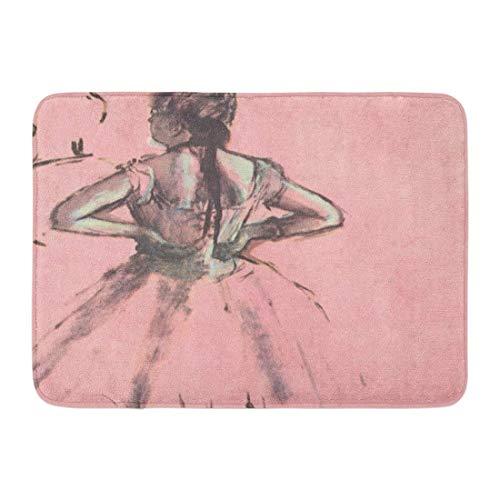 Sunny R Bailarina de la Parte Posterior Edgar Degas Ballet Felpudo Decorativo Cocina Baño Alfombra Antideslizante Entrada Suave Alfombra de la Puerta Delantera 15.7×23.5 Pulgadas