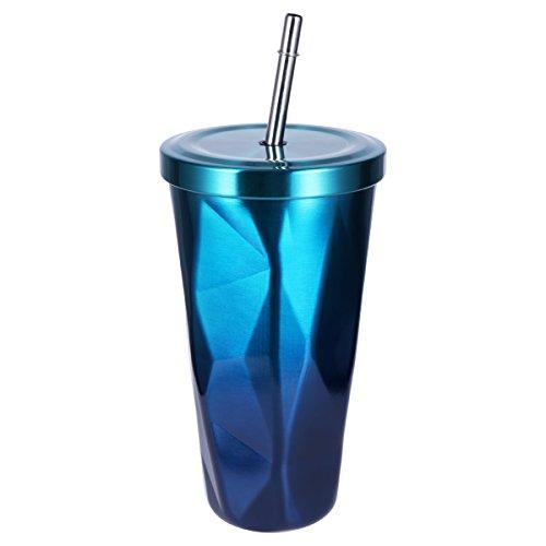 BESTonZON Edelstahl Tumbler mit Stroh Doppelwand Trinkbecher Kaffeetassen 500ml Unregelmäßiger Diamant mit Deckel (Blau-grün)