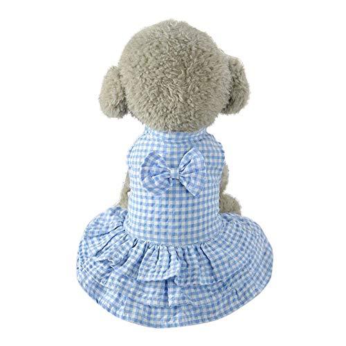 YWLINK Süß Plaid Bow Party Kleid Haustier HüNde Bekleidung Kleidung RüSchen Prinzessin Rock(Blau,M)
