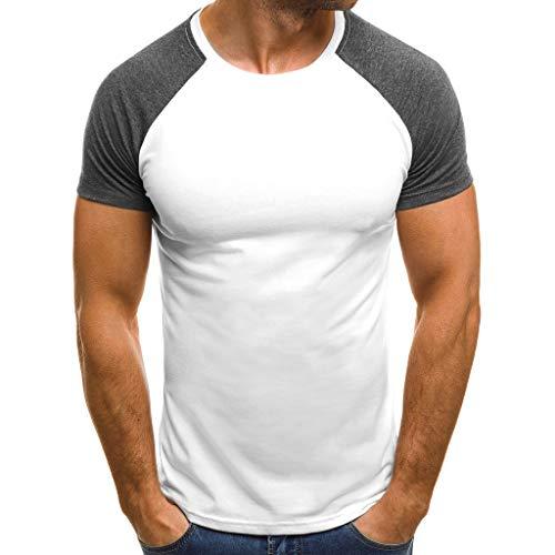 Zarupeng heren zomer spiershirt casual slim fit korte mouwen T-shirt ronde hals patchwork onderhemden sweatshirts blouse top