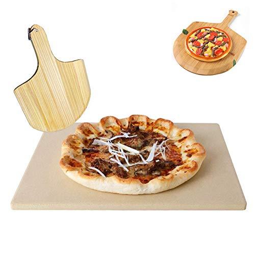 WHYYXA 2 STÜCK Pizzastein, Cordierite Pizzasteinplatte, rechteckiger Brotbackstein, mit Holzpaddel, für Grill & Ofen, 38 * 30 * 1 cm