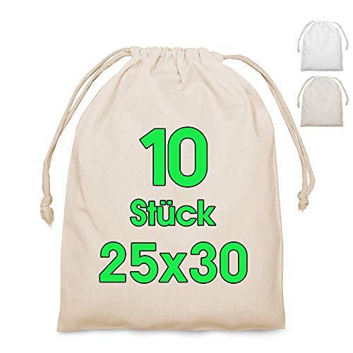 Tote bag piccola DIVERSE DIMENSIONI Set per pittura - borsa mini borsa borsa - sacchetti regalo - sacchetti compleanno per festa di compleanno bambini souvenir,(Natura, 25 x 30 cm | 10 pezzo)