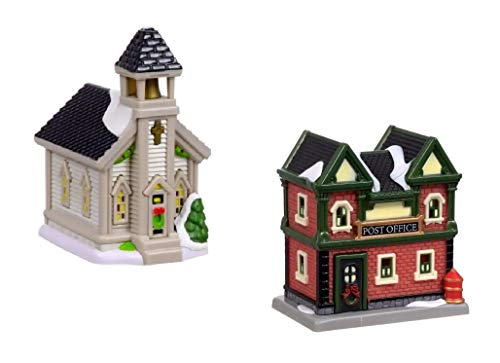 Cobblestone Corners Miniature Christmas Village - 2 Piece Collection Collectible Buildings