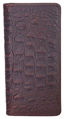 Mens RFID Blocking Wallet Genuine Vintage Leather Long Wallet Card Holder Bifold Croco