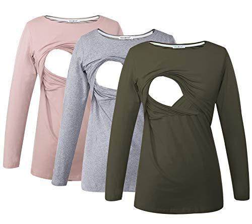 Smallshow Women's Maternity Nursing Tops Comfy Long Sleeve Breastfeeding T-Shirt