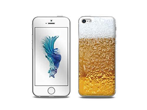 etuo Handyhülle für Apple iPhone 5SE - Hülle, Silikon, Gummi Schutzhülle - Bier mit Schaum