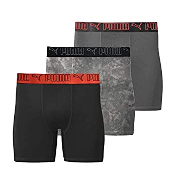 PUMA Men s 3 Pack Tech Boxer Brief  Large Black/Red  Sportstyle