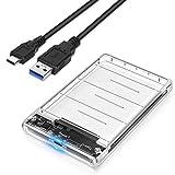 POSUGEAR USB C Carcasa Disco Duro 2.5',Caja Disco Duro de HDD SSD SATA I/II/III de 7mm 9.5mm de Altura,USB C 3.1 Gen 2(6 Gbps) Sopporta UASP,No Requiere Herramientas [Transparente]