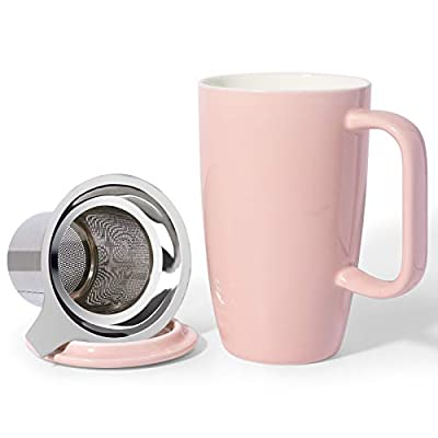 Sunddo Ceramic Tea Cup with Infuser and Lid, Tea Infuser Cup for Loose Tea, 15 OZ Pink Tea Mug For Steeping