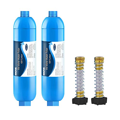 2 Packs of RV Inline Water Filter with Flexible Hose Protector, NSF 42/372 Certified, Reduce Chlorine, Odor, Taste, Rust and Fluoride in Drinking Water, Dedicated for RVs and Marines.