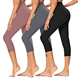 Gayhay High Waisted Capri Leggings for Women -3 Pack Soft Tummy Control Pants for Running Cycling Yoga Workout