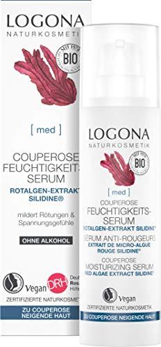 LOGONA Naturkosmetik Couperose Feuchtigkeits-Serum, Bietet der zu Couperose oder Rosacea neigenden Haut die Extraportion Feuchtigkeit, Bei Rötungen, Mit dem exklusiven Wirkstoff SILIDINE®, Vegan, 30ml