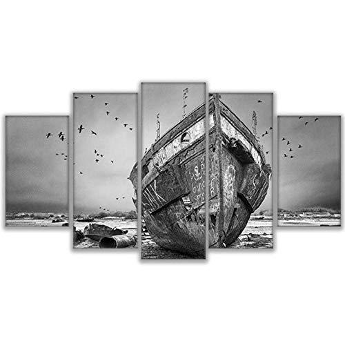 Wslin 5 stuks wit zwart Boot Riva landschap muurschildering HD druk foto decoratie voor huis canvas doek 150 x 80 cm
