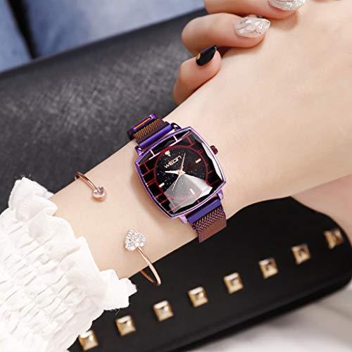 HBR Reloj Señoras del Reloj de Cuarzo del Reloj magnético Elegante de Las señoras del Reloj de Pulsera Accesorios de Moda (Color : Purple)