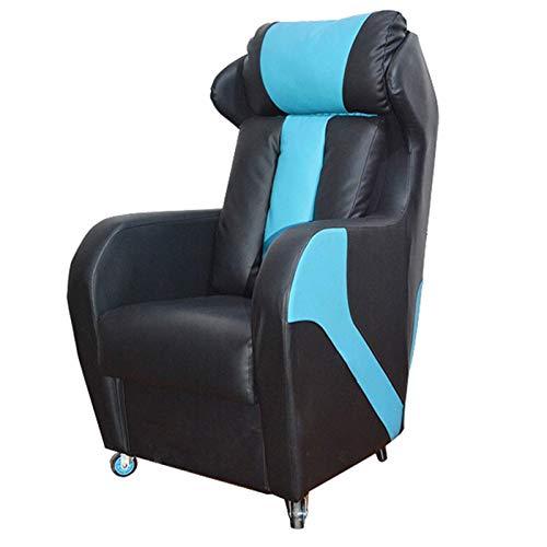 Sillas de juegos, silla reclinable para juegos, sala de estar, piel sintética, asiento de cine en casa (color azul)