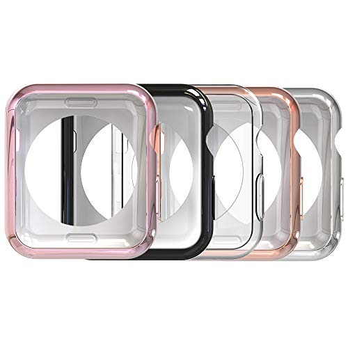 Simpeak Soft Back Case Compatible with Apple Watch 44mm Series 6 /5 /4 /SE, Pack of 5, Slim, Transparent, Black, Rose Pink, Rose Gold, Silver