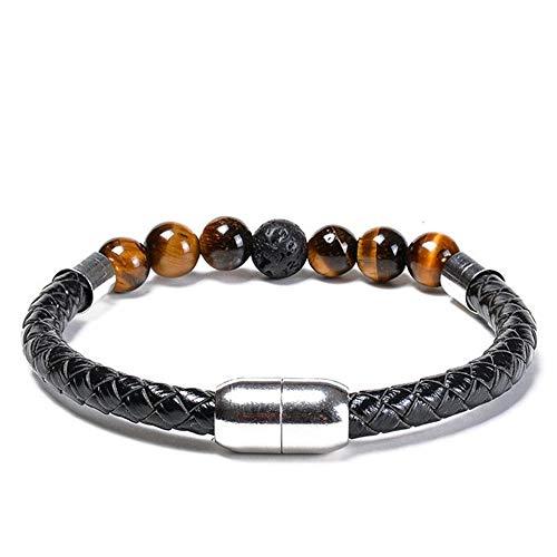 OUTANG Armband Perlen Armband aus Naturstein Armband aus Naturstein Elastisches Perlenarmband Glücksperlen Armband Lavastein Armband
