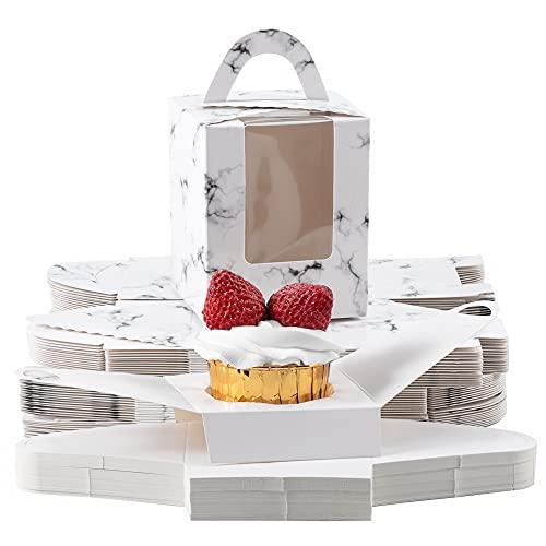 Roponan 30 Pièces Boîtes à Cupcake Portables, Boîtes à Cupcake Individuelles avec Insert, Poignées et Fenêtre d'Affichage pour Biscuits Gâteaux Chocolats Bonbons (Marbrure)