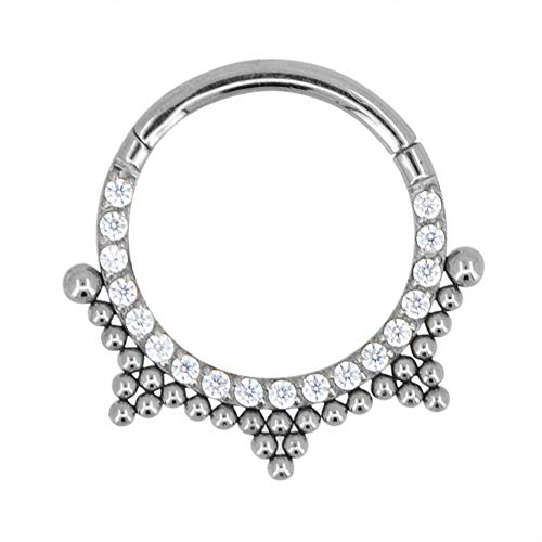 Queenchal Beaded Sparkling CZ Segment Ring Conch Tragus Hoop, Daith, Rook Piercing, Nose Ring, Septum clicker, Hinged, Segment piercing16g, 316L Stainless Steel