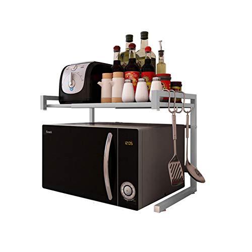 Vinteky - Supporto estensibile in metallo, per forno a microonde, con ripiano per stoviglie e spezie