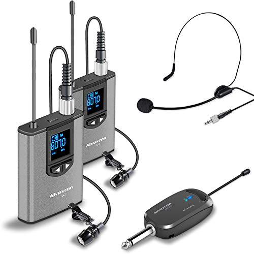 Alvoxcon ワイヤレスマイク UHF 最新版 ピンマイク ワイヤレス ヘッドセットマイク 高音質 クリップマイク ハンズフリーマイク 無線マイク 動画撮影 録音 拡声 カメラ スマホ 軽量 日本語取扱説明書付き 送信機*2 受信機*1 二人用 TG220