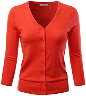 EIMIN Women's 3/4 Sleeve V-Neck Button Down Stretch Knit...