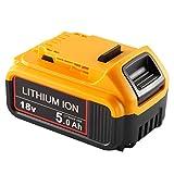 Jialitt DCB184 5.0Ah Batterie pour Batterie Dewalt 18V XR Lithium-ion DCB200 DCB182 DCB180 DCB181 DCB182 DCB201