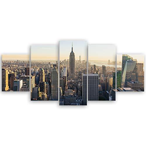 Bilderdepot24 hochwertiges Leinwandbild - New York City Skyline - 150 x 70 cm mehrteilig (5 teilig) | Wanddeko Wandbild Wandbilder Bild auf Leinwand | 2257