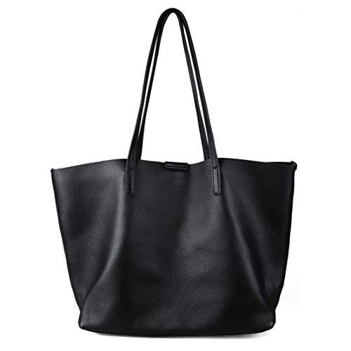 befen Black Large Soft Leather Casual Handbag Shoulder Purse Tote Purses and Handbags for Women