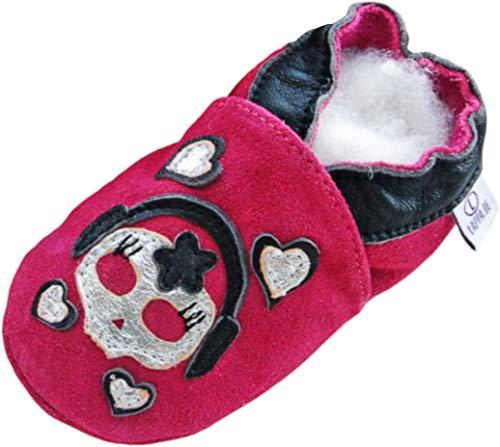Lauflernschuhe Lederpuschen Hausschuhe Krabbelschuhe Baby -mit Gummisohle- Gr.19-31 (19/20, 230G Toti-köpfi pink Wildleder)