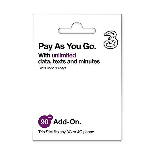 Three Pay As You Go SIM 6 Unbegrenzte 90-Tage-Daten