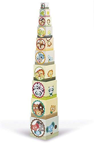 Janod - J02941 - Pirámide cuadrada con bloques apilables de retratos familiares, juguete de...