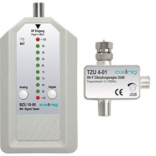 Axing BZU 10-00 BK-Signaltester Kabelfernsehen analog/digital & TZU 4-01 BK-Dämpfungsregler mit F-Anschluss (0,5-20 dB)