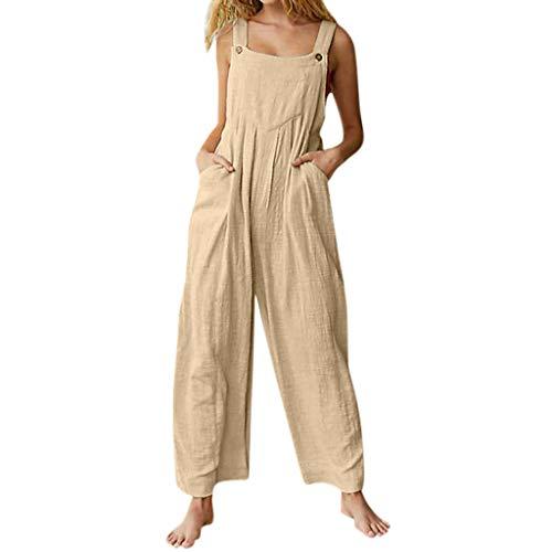 Ansenesna Latzhose Damen Mit Taschen Lang Weites Bein Elegant Sommer Overall Frauen Locker Einfarbig Casual Playsuit
