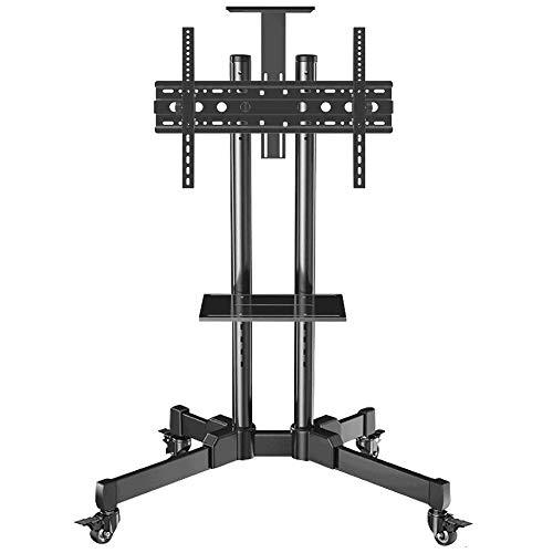 dehong Stainless Steel TV Floor Cabinet for 32—70 Inches TVs,Black Swivel and Tilt TV Floor Bracket on Wheels Castors Up to 90KG Tilting Height Adjustable,Max VESA 600x400mm