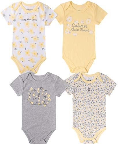 Calvin Klein Baby Girls' 4 Pieces Pack Bodysuits, Yellow/Grey, 6-9 Months