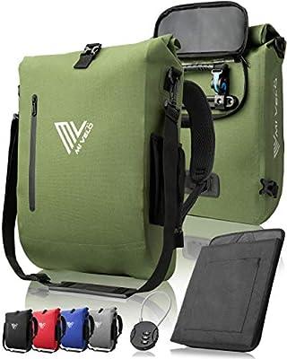 MIVELO - 3 in 1 Fahrradtasche - Rucksack - Schultertasche wasserdicht, mit Laptopfach, für Fahrrad Gepäckträger Aller Art (Olivgrün, 20L)