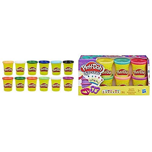 Play Doh - Pack 12 Botes Colores Frios (Hasbro E4830F02)+ Pack Botes Brillantes (Hasbro A5417Eu9)