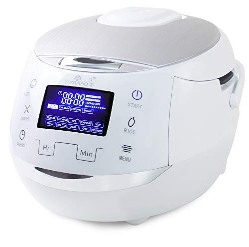 Yum Asia Sakura Cuiseur à riz avec bol en céramique et Micom Fuzzy Logic (YUM-EN15W) 6 fonctions de cuisson au riz, 6 fonctions multicuiseurs, écran LED Motouch (1,5 litre) 220-240V (Blanc et argent)