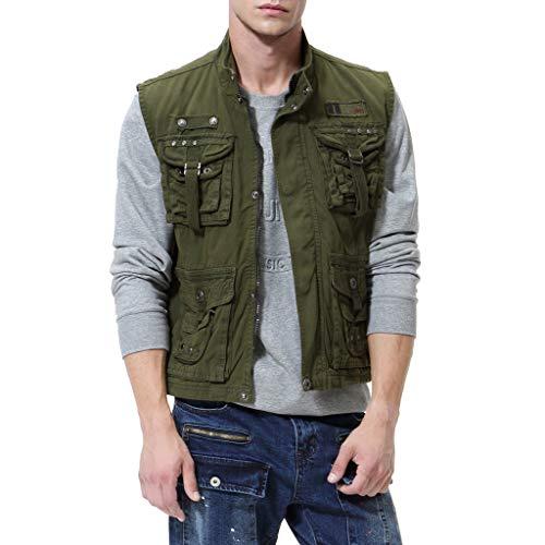 Plot Herren Weste Übergangs Outdoor Freizeit Sport Funktionsweste Übergangswesten Multi-Tasche Jacke Ärmellos Parka Jacken Outwear