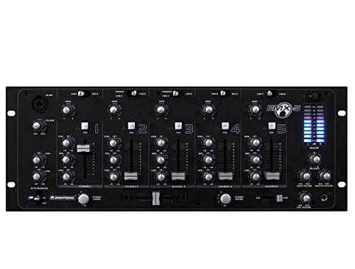 OMNITRONIC EMX-5 5-Kanal Club-Mixer mit Vorverstärkungsregler (Gain), 3-Band Equalizer, Cue-Taste und hochwertigen, super leichtgängigen Kanalfadern