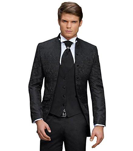 Herren Anzug - 8 teilig - Schwarz Paisley Designer Hochzeitsanzug PC_02 (46)