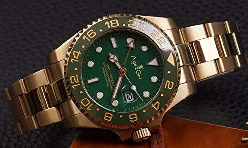 CHQSMZ Relojes mecanicos Pulsera De Cerámica GMT Lujo Nuevos Hombres Mecánicos Automáticos ETA 2813 Movimiento Reloj Deportes AAA + Relojes De Zafiro Vidrio 40 Mm Verde Oro