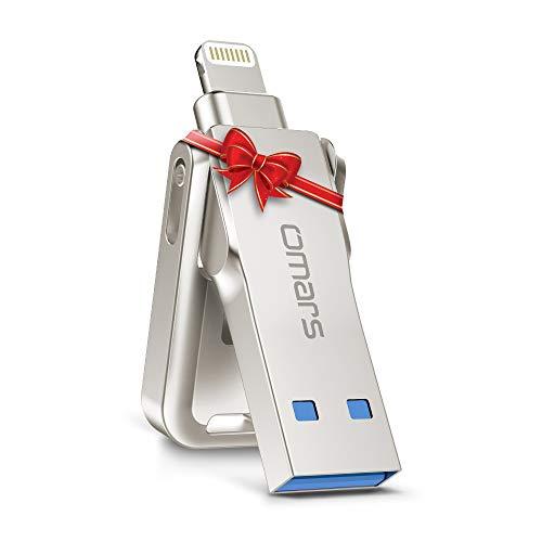 Omars iPhone Memoria USB 3.0 64GB Flash Drive para iPhone [Certificado por Apple MFI] Aleación de Zinc Pendrive para iPhone, iPad, MacBook, Computadoras, Laptops Lightning Conector