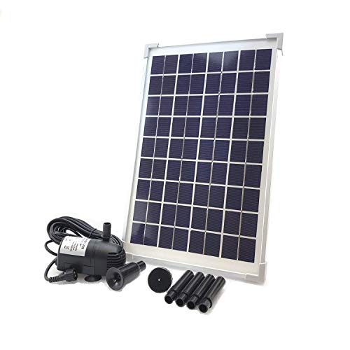 AEO Solar Water Pump KIT: DC Brushless Submersible 196GpH Water Pump with 18V 10W Solar Panel for Solar Fountain, Fish Pond, and Aquarium (No Backup Battery)…