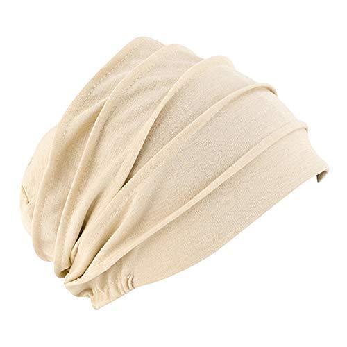 Frauen Muslimische Kopftuch Indische Turban-Hüte Turbanmütze Beanie Mütze Kopfbedeckung Schlafmütze Baumwolle Soft Turban Headwear Head Wraps für Haarverlust Chemo Krebs Multifunktional Cap (Beige)