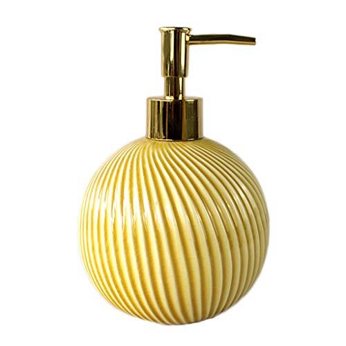 DAGCOT Dispensadoras de jabón Baño Cocina dispensador de jabón 13.5oz Relief Creativas Cerámica Alimentador del jabón líquido con Botella de la Bomba de Oro Emulsión dispensación Dispensador de jabón