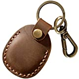 Leather Case for AirTag Tracker, Portable Handmade Genuine Leather AirTags Holder with Keychain Protective Case Cover Compatible for AirTag 2021 Brown